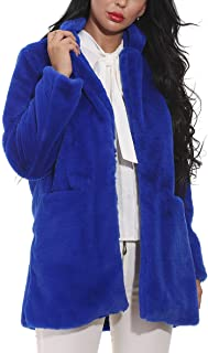 Women Faux Fur Coat Jackets Outerwear Long Sleeve with Pockets Winter Soft Thick