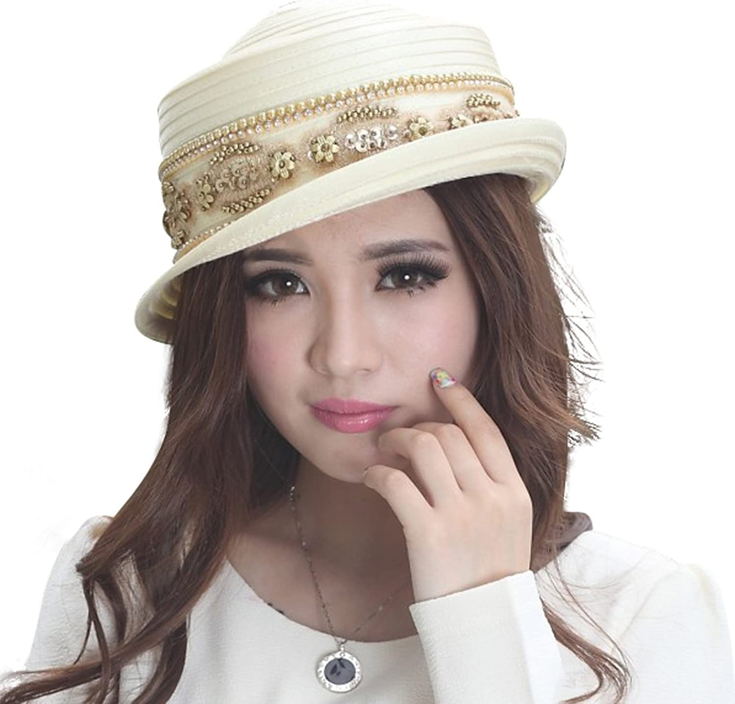 June's Young Women Hat Church Hats Floral Formal Occasions Simple Style