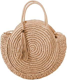 ACMEDE Straw Handbags,Round Straw Bag Crossbody Tote of Handwoven Natural Rattan for Women Girls