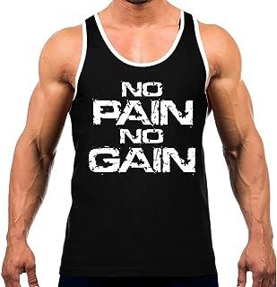 メンズグランジno pain no gain Teeホワイトトリムブラックタンクトップブラック