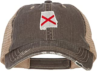 e4Hats.com Alabama State Flag Map Embroidered Low Profile Cotton Mesh Cap