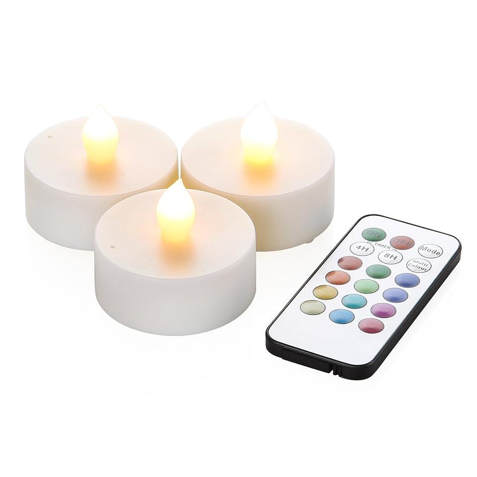 困惑する赤腹部WY 12色LEDティーライトキャンドル 3個セット リモコン付 4h/8hタイマー機能 照明モード切替 WY-LEDSET004-3