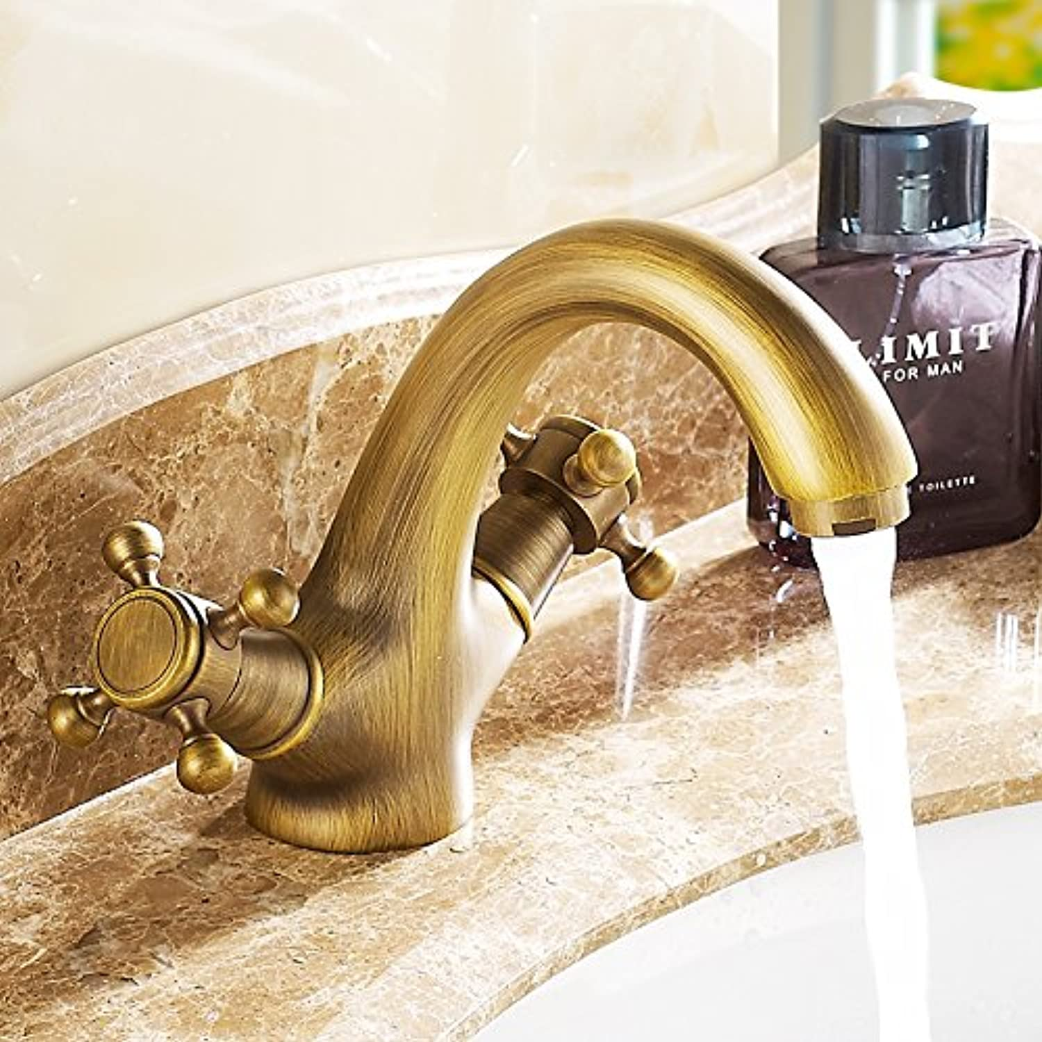 Makej Classic Basin Faucet Copper Antique Style Hot and Cold Faucet Dual Holder Single Hole Water Tap