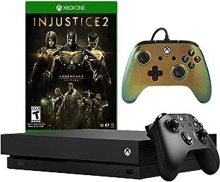 Console Microsoft Xbox One X 1 To avec manette filaire améliorée PowerA - Cosmos Nova & Injustice 2: Ensemble Édition lége...