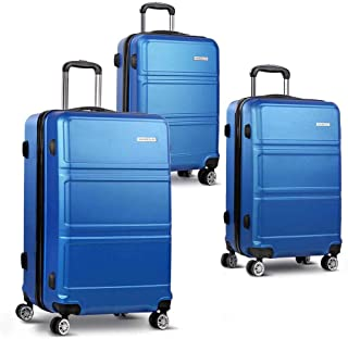 "Wanderlite 20"" 24"" 28"" Luggage Suitcase Sets with Trolley Wheel and TSA-lock-Blue"