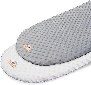 BlueSnail Soft and Strechy Minky BassinetFitted Sheet, Cradle Sheets for Bassinet Pad/Mattress 2pk(Bassinet, White+Gray)