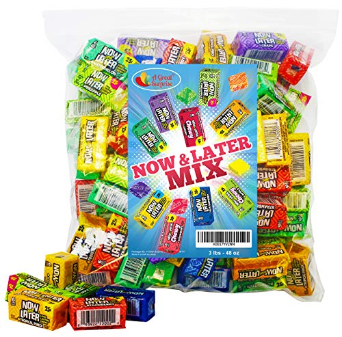 Now and Later Candy - Now and Later - 6 PIECE PACKS - 6 Piece Mini Bars Bulk - Now and Later Soft Chews - Bulk Candy - 3 Pounds
