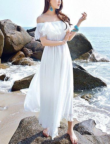 Wohommes Off épaule Ruffle plage vacances robe de mousseline robe Boho Ruffle solide blanc sans hommeches Maxi col bateau de grande hauteur d'été soirée mariage cadeau parcravate inélastique