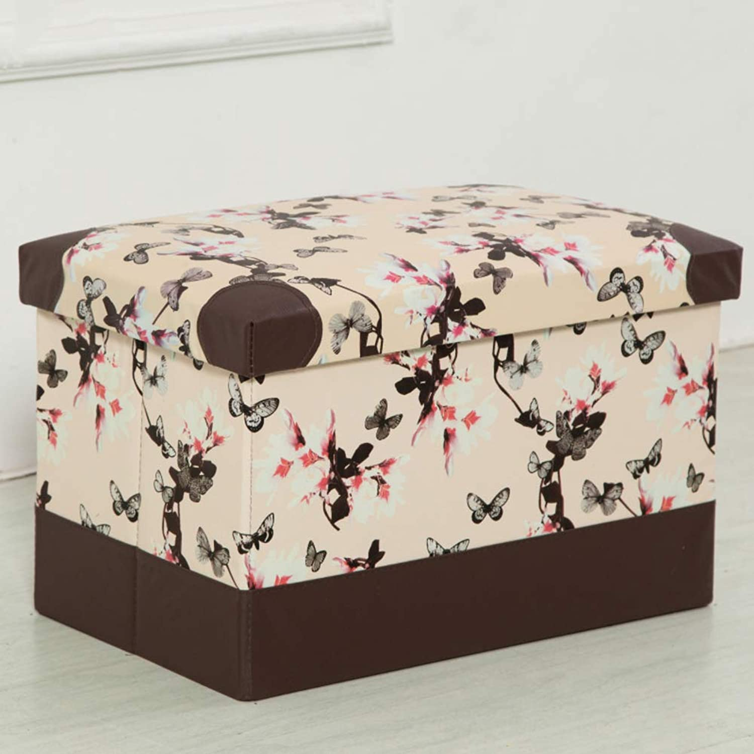 Faux Leather Foldable Cube Storage Footstool Large Capacity Footrest Stool Waterproof for Adult Bench shoes -C 48x31x31cm