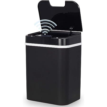 スマートゴミ箱 センサー付き 全自動開閉 ふた付きごみ箱 12リットル 非接触式 スマート感応 ゴミ箱 おしゃれ リビングルーム/トイレ/キッチン/ベッドルーム/オフィスなどに適します (ブラック)