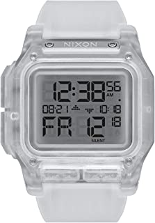 NIXON Regulus A1180 - Clear - 100 Meter / 10 ATM Water Resistant Men's Digital Sport Watch (46mm Watch Face, 29mm-24mm Pu/Rubber/Silicone Band)