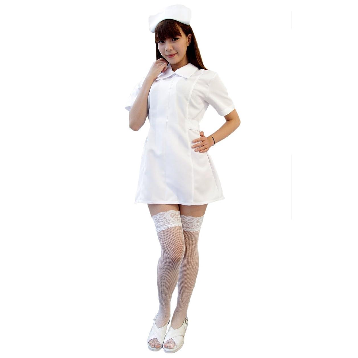 緯度愛延ばす白衣の天使ナース服 コスチューム 白 レディース