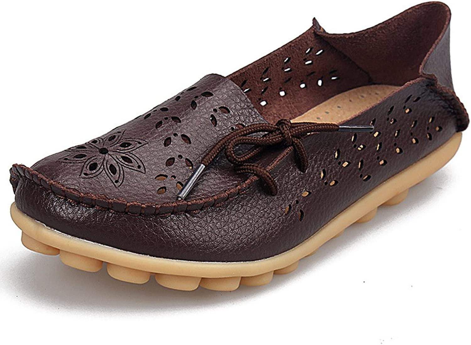 SHIBEVER Women's Leather Loafers Moccasins Wild Driving Casual Flats Oxfords Breathable shoes Coffee-2 11