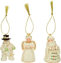Lenox Ivory China Holiday / Christmas Ornament with 24k Accents 3 PC set (Santa, Snowman, Angel) [Set of 3]