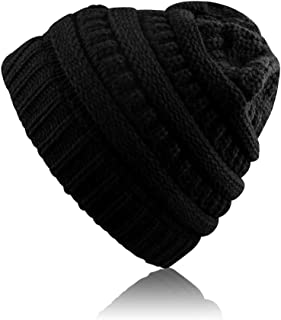 Airsspu Winter Warm Knitted Ponytail Beanie Hat Messy High Bun Beanie Soft Stretch Cap-Black