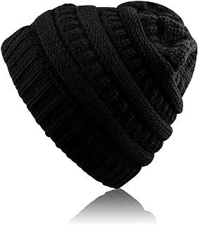Airsspu Winter Warm Knitted Ponytail Beanie Hat Messy High Bun Beanie Soft Stretch Cap-Black