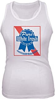 Old Glory 4th of July Pure White Trash Juniors Tank Top