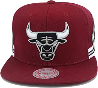 Mitchell & Ness Chicago Bulls NBA Snapback Hat Cap Maroon/Black/White/Jersey Shorts Side Patch