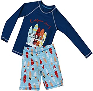 Jojobaby Baby/Toddler Boys Rash Guard Long Sleeve 2-Piece Swimsuit Set - Sailing Printed Swimwear with UPF 50+ Sun Protection