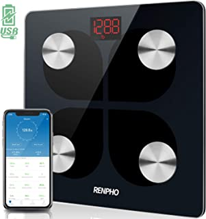 RENPHO Bluetooth Rechargeable Smart Scale Digital Weight and Body Fat USB Weight BMI Scale, Body Composition Monitor with ...