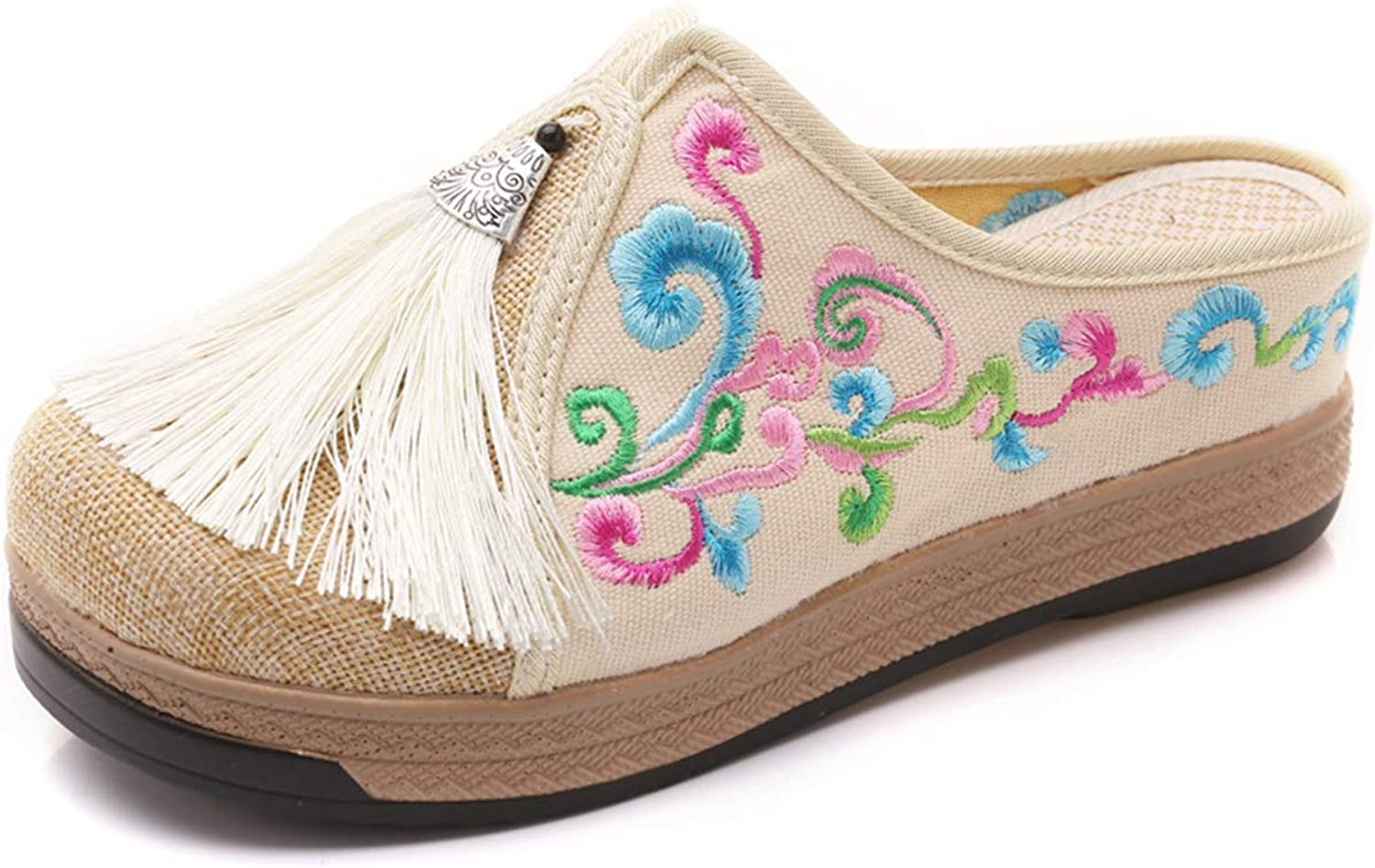 Zarbrina Womens Clogs Mules Sandals Hantang Dynasties Casual Clouds Embroidery Linen Cotton Tassel Ladies Canvas Walking Slide on shoes