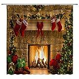 Cortina de ducha navideña Feliz año nuevo Nochebuena Chimenea Regalos Medias de pared de ladrillo Árbol de Navidad Impresión artística Tela de poliéster Juego de decoración de baño con orificio para g