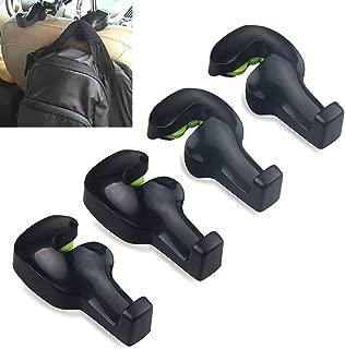 AKWOX (Pack of 4) Car Headrest Hanger, Universal Car Vehicle Back Seat Headrest Hanger Holder Hook for Bag Purse Cloth Grocery (Black)