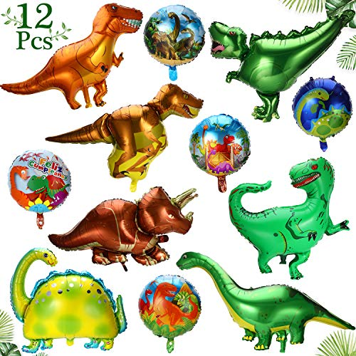 Dinosaur Balloons Dinosaur Party Supplies, 12 Pieces Dinosaur Foil Balloons Aluminum Mylar Helium Jungle Balloons for Birthday Weddings Graduation Party Baby Shower Jungle Theme Party Supplies
