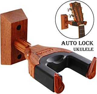 Ukulele Wall Mount, Auto Lock Ukulele Hanger, Hard Wood Base Ukulele Hangers For Wall, Ukulele/Violin/Banjo/Mandolin wall Stand