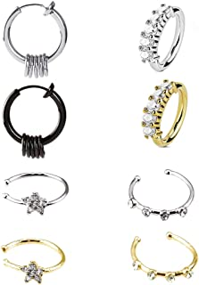 Fake Hoop Nose Ring-Stainless Steel 8 pcs Mens Fake Nose Rings Prevent Allergy No Fading Personality Lip Ear Rings for Women Men