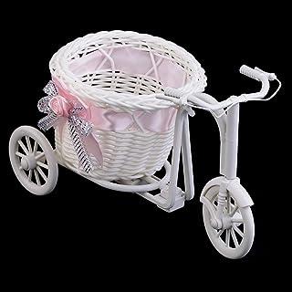 Bowknot Rotin Tricycle Vélo Panier Fête De Mariage Décor Cadeau Décor À La Maison (Rose)