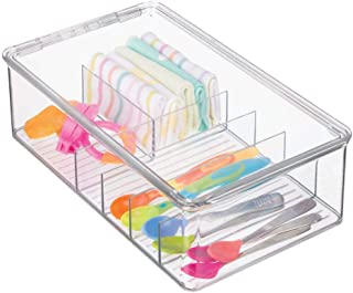 mDesign Stackable Plastic Storage Organizer Container Box for Kitchen Cabinets, Pantry, Countertops - Holds Kids, Child/Toddler Mealtime Sets, Small Accessories - 6 Sections - BPA Free - Clear