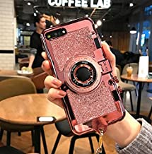 UCLL Glitter Camera Case for iphone 7 plus and iphone 8 plus New Modern 3D Vintage Style Bling Camera Design Soft Cover For 5.5 iphone 7plus/iphone 8 Plus with Strap Rope and a Screen protector (pink)