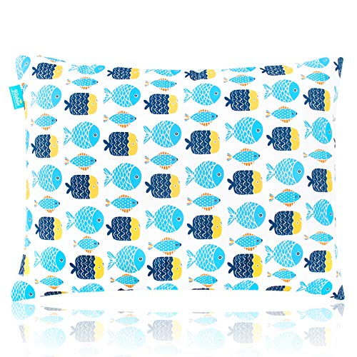 "Toddler Pillow for Sleeping, 14"" x 19"" Soft Best Neck Support First Small Baby Kid Pillow - Machine Washable for Daycare,Travel, Crib and Toddler Bed - Fish Print"