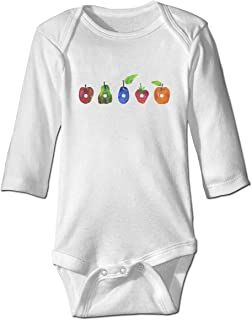 Wensiyer Kids&Boys&Girls Caterpillar The Very Hungry 's Logo 100% Cotton Basic Crew-Neck Long Sleeve Playsuit Clothes
