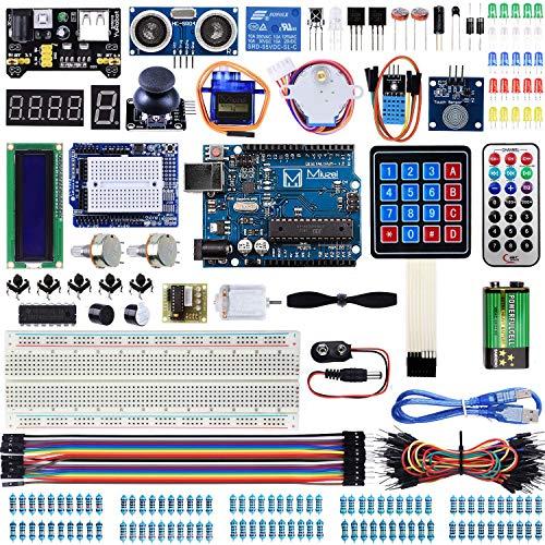 Miuzei Starter Kit für Arduino R3 Projekte mit Mikrocontroller, LCD1602 Modul, Steckbrett, 9V Batterie, Servo, Sensoren, Tutorial MA13