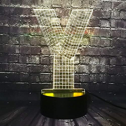 anniversaire foot 3d lamp Veilleuse Lampe Creative Design Modern 3D Lampe Alphabet Lettre Y Multicolor Flashlight Atmosphère Led Lumière De Nuit Usb Touch Cadeau Enfant Avec télécommande USB