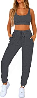 Women Sweatsuits Bra and Sweatpants Set 2 Pieces Jogger Tracksuit