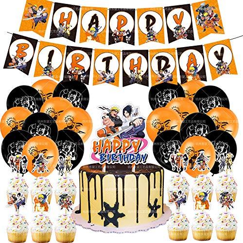shengping Naruto Theme Party Set Japanischer Anime Alles Gute Zum Geburtstag Banner Ballon Kuchen Karte Kombination Party
