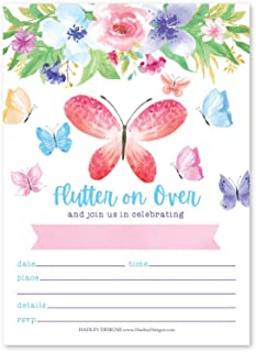 25 Watercolor Butterfly Floral Kid Party Invitations, Girl Boy Birthday Invite, Pastel Princess Boho Ribbon Rose Pink Gold Floral Vintage, Unique Whimsical Spring Flower Garden Bday Printable Template