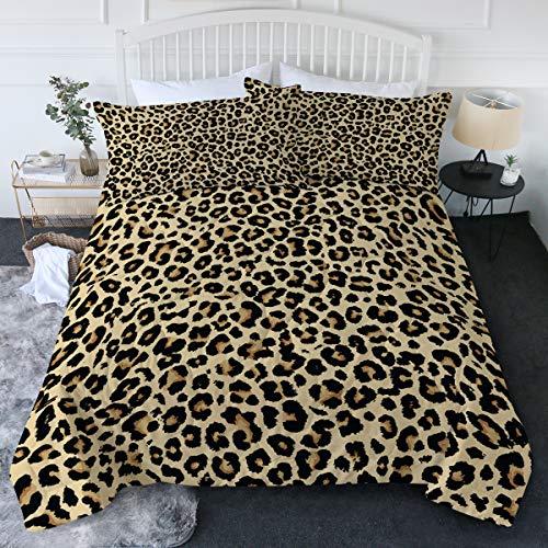 BlessLiving Leopard Comforter Set Animal Print Cheetah Twin/Twin XL Bedding 3 Piece Golden Comfortable Comforter with 2 Pillow Shams Home Bedding Sets