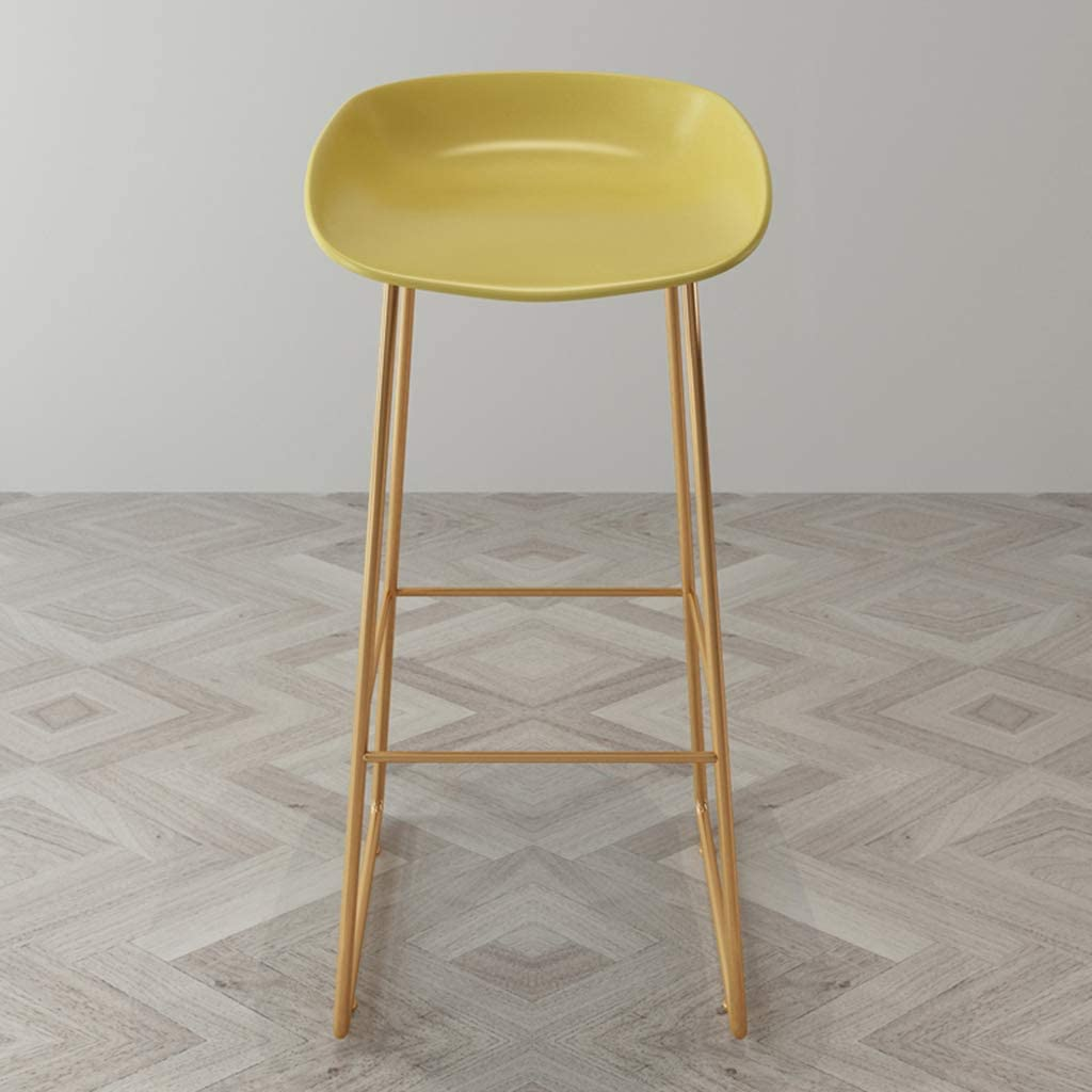 Chaises de Salle à Manger rembourrées pour Le matériau de Cuisine PP/siège incurvé/Pieds en métal doré/Charge 100KG Yellow