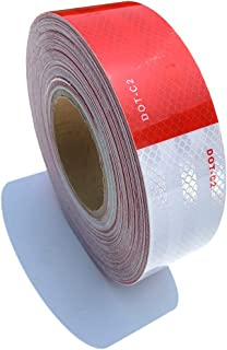 2 inch x160Feet Reflective Tape DOT-C2 Waterproof Red and White Adhesive Conspicuity Tape for Trailer, Outdoor, Cars, Trucks