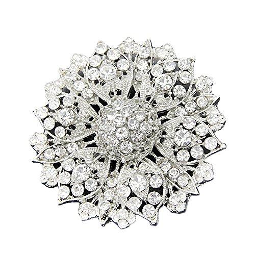 Gioielli di Moda Fiore Spilla Pin con Strass Bling Cristallo da Donna (Argento)