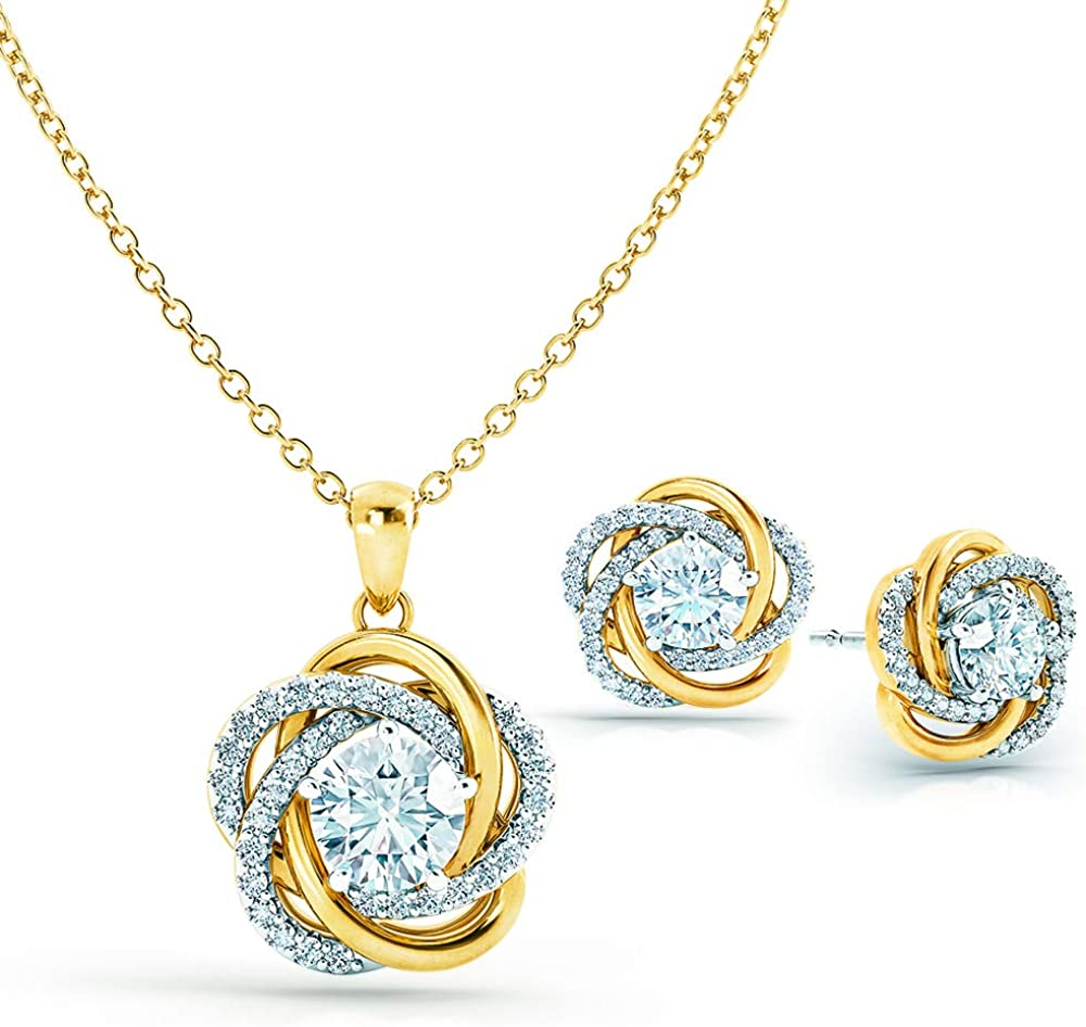 Perfectly Paired Love Knot Pendant and Earrings Set #4922-002