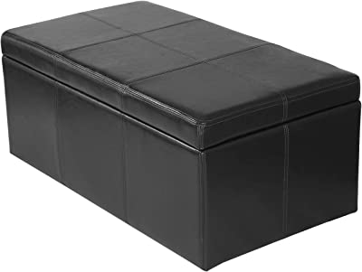 Homebeez Bonded Rectangular Leather Storage Ottoman Footstool , Rectangle, Black