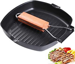 Yafeco 11 inch Non-sticky Cast Iron Steak Frying Pan Wooden Handle Folding Portable Square Grill Pan.Pre-seasoned Grill Pan with Easy Grease Draining for Grilling Bacon, and Meats.
