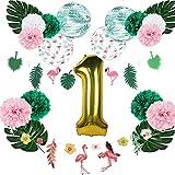 Easy Joy Luftballon 1. Geburtstag Party Dekoration Tropische Blätter Flamingo Deko Babygeburtstag