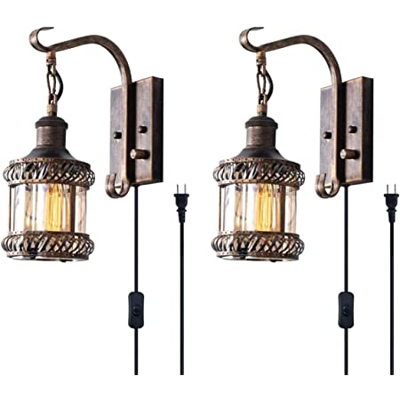 Retro Wall Light Fixtures 2 In 1 Antique Bronze Vintage Wall Lighting Hardwired Plug In Industrial Lantern Retro Lamp Metal Wall Sconce For Bedside Bedroom Home Dining Room 2 Pack Amazon Com