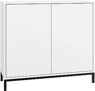 BRV Móveis Cabinet White, 90 x 80.5 x 35.5 cm, BMU 34-198, White and Black Feet